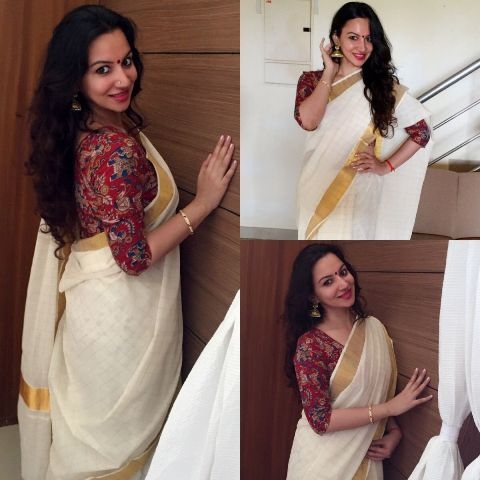 kerala-saree-using-kalamkari-blouse