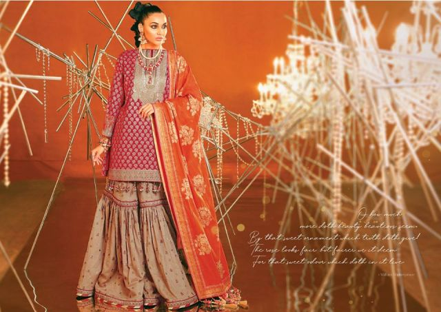 2 Piece Embroidered Suit With Brochier Dupatta