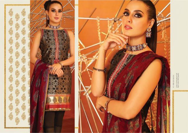 3 Piece Embroidered Suit With Cotton Silk Dupatta