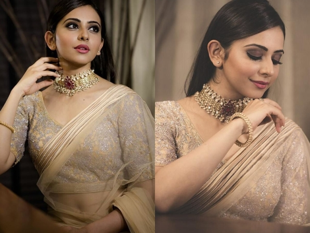 Gold Sequin And Sparkle Blouse For Party Wear Net Sarees