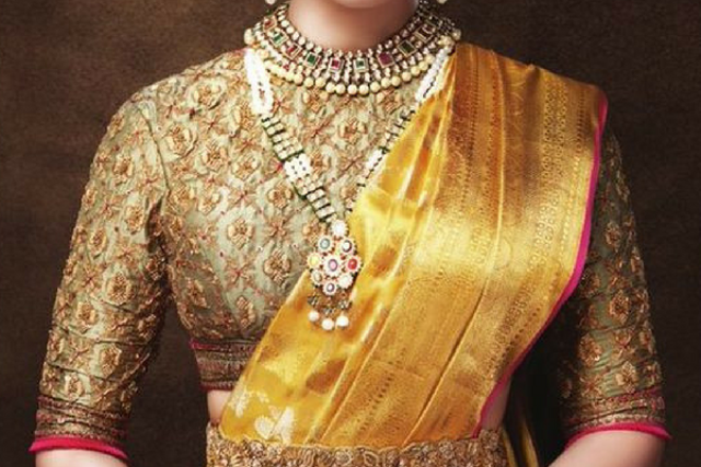 Heavy Dull Gold Embroidery Blouse