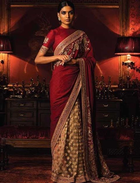 Raw Silk High Neck Blouse For Tussar And Pure Silk Sarees