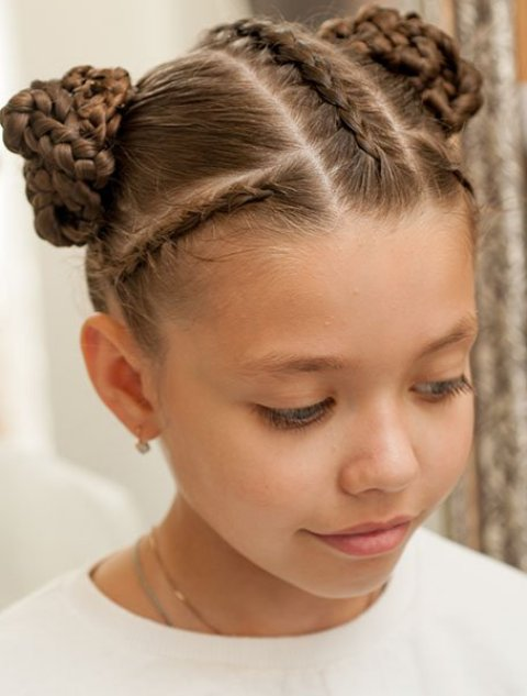 Braided-Side-Buns-with-Cornrows