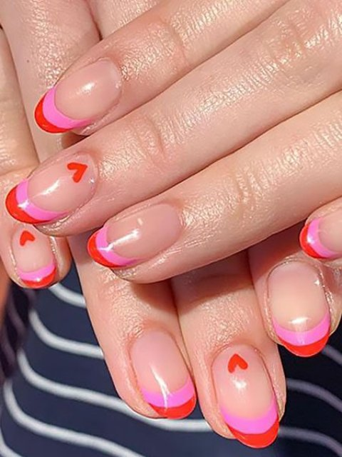 Pink-and-Red-French-Manicure-with-Mini-Hearts