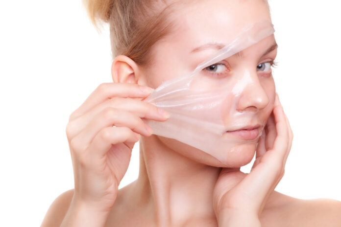 a woman's face during a chemical peel